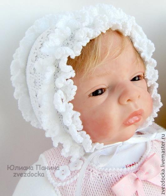 """Для новорожденных, ручной работы. Ярмарка Мастеров - ручная работа. Купить чепчик """"Кружевной"""". Handmade. Белый, ажурная шапочка"""