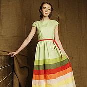 Одежда ручной работы. Ярмарка Мастеров - ручная работа Платье в пол ярусное летнее льняное длинное в бохо стиле в полоску. Handmade.