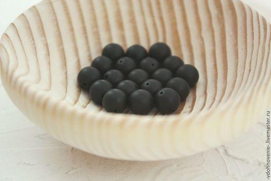 Для украшений ручной работы. Ярмарка Мастеров - ручная работа. Купить Бусина ШУНГИТ шар 8 мм. Handmade. Черный