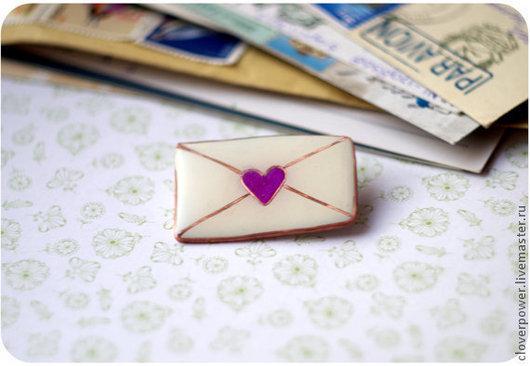 """Броши ручной работы. Ярмарка Мастеров - ручная работа. Купить Брошь """"Письмо с любовью"""". Handmade. Белый, нежность, конверт"""