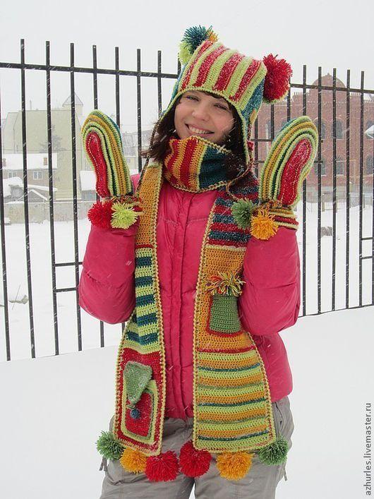 Комплекты аксессуаров ручной работы. Ярмарка Мастеров - ручная работа. Купить Теплый зимний комплект: шапка- ушанка + шарф + варежки Полоски. Handmade.