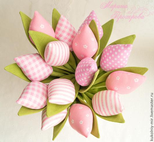 Куклы Тильды ручной работы. Ярмарка Мастеров - ручная работа. Купить Тюльпаны Тильда. Handmade. Розовый, текстильные цветы