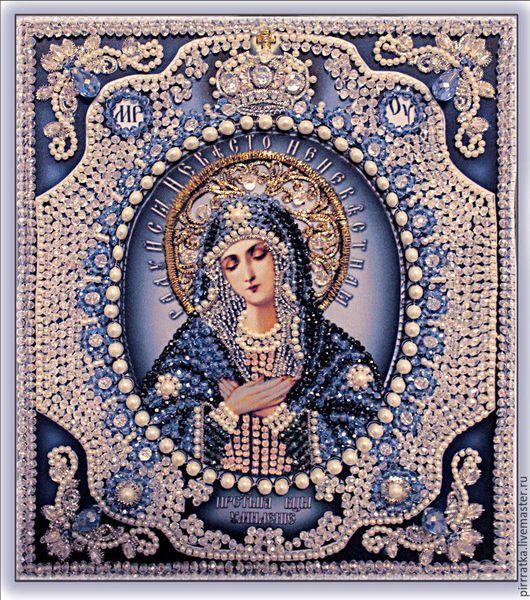 Набор для вышивания `Образа в каменьях` икона Богородица Умиление с натуральны жемчугом