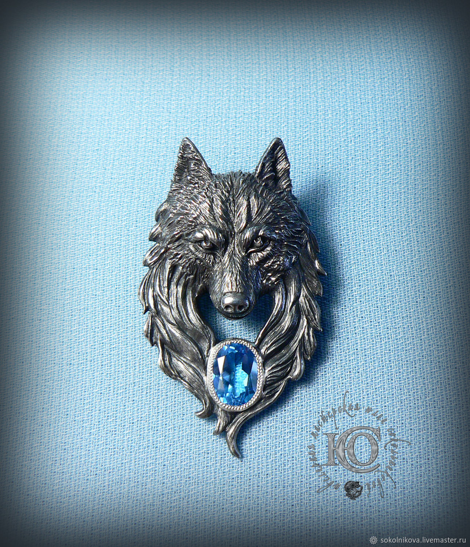 """Кулон """"Волк"""", серебро, топаз, Кулон, Санкт-Петербург,  Фото №1"""