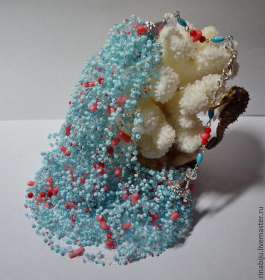Колье, бусы ручной работы. Ярмарка Мастеров - ручная работа. Купить Колье воздушка с кораллами. Handmade. Голубой, ручная работа