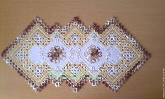 Текстиль, ковры ручной работы. Ярмарка Мастеров - ручная работа. Купить салфетка в стиле хардангер малака. Handmade. Коричневый, Хардангер