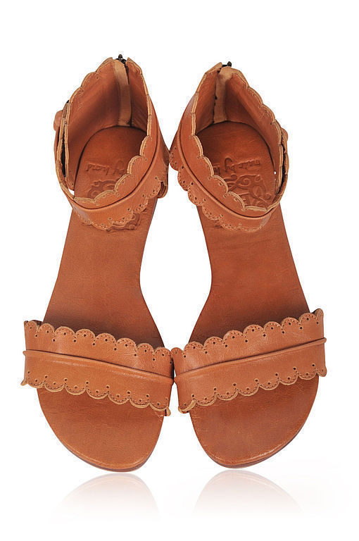Обувь ручной работы. Ярмарка Мастеров - ручная работа. Купить Midsummer, кружевные лёгкие кожаные сандалии.. Handmade. Оранжевый, кожа