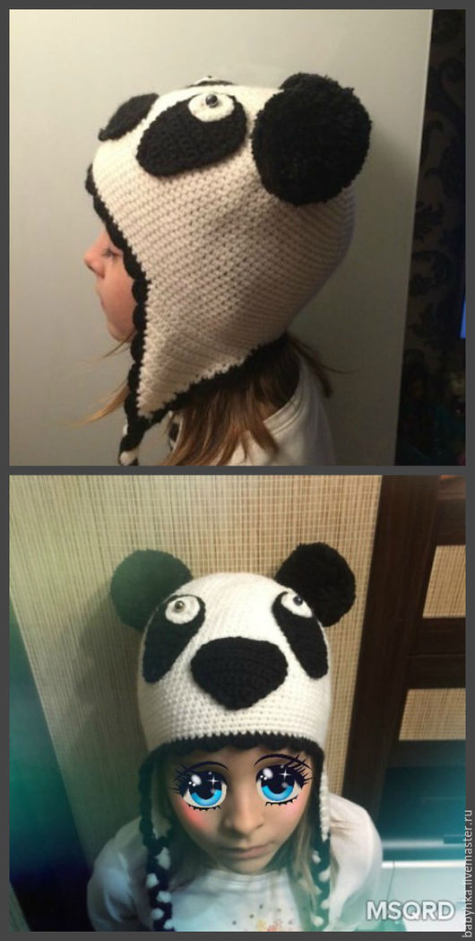 """Шапки ручной работы. Ярмарка Мастеров - ручная работа. Купить Шапка """"панда"""". Handmade. Белый, с помпонами"""
