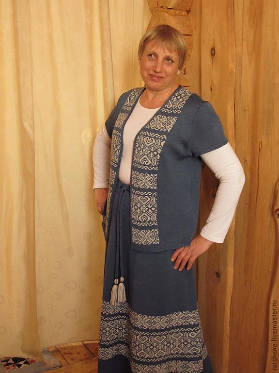 Вязанная зимняя юбка