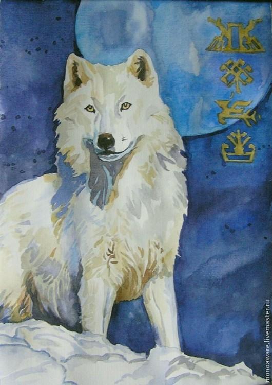 """Животные ручной работы. Ярмарка Мастеров - ручная работа. Купить """"Белый волк"""" картина-оберег. Handmade. Синий, тёмно-синий"""