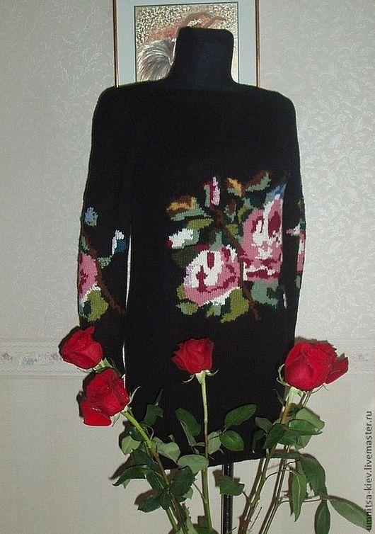 Черное платье, вязание на заказ, современное, шелковистое, вязаный свитер, вязаное платье, свитер платье, теплое платье, платье зимнее, Шерстяное платье, модный свитер, платье с розами, свитер с розам