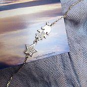 Украшения ручной работы. Ярмарка Мастеров - ручная работа Браслет с девочкой и звездой. Серебряный браслет для мамы - звездочка. Handmade.