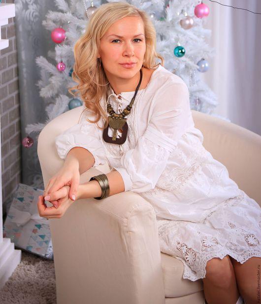"""Платья ручной работы. Ярмарка Мастеров - ручная работа. Купить Платье """"Снежинки"""" кружево, хлопок, шитье, в стиле БОХО. Handmade."""