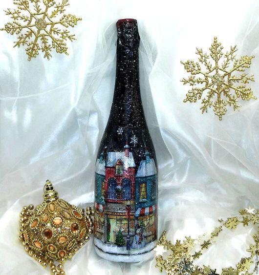 Подарочное оформление бутылок ручной работы. Ярмарка Мастеров - ручная работа. Купить Оформление новогодней бутылки. Handmade. Подарок мужчине