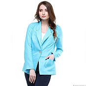 Одежда handmade. Livemaster - original item Linen jacket fitted turquoise. Handmade.