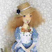 Куклы и игрушки ручной работы. Ярмарка Мастеров - ручная работа Морской стиль. Кукла в синем платье. Коллекционная кукла.. Handmade.