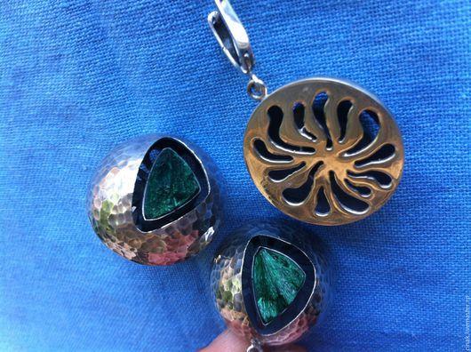 Комплекты украшений ручной работы. Ярмарка Мастеров - ручная работа. Купить Комплект из серебра с малахитом. Handmade. Зеленый, круглые серьги