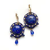Украшения handmade. Livemaster - original item Soutache blue denim earrings with natural stone Crumbs. Handmade.