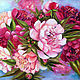 White and red peonies oil painting, Pictures, Azov,  Фото №1