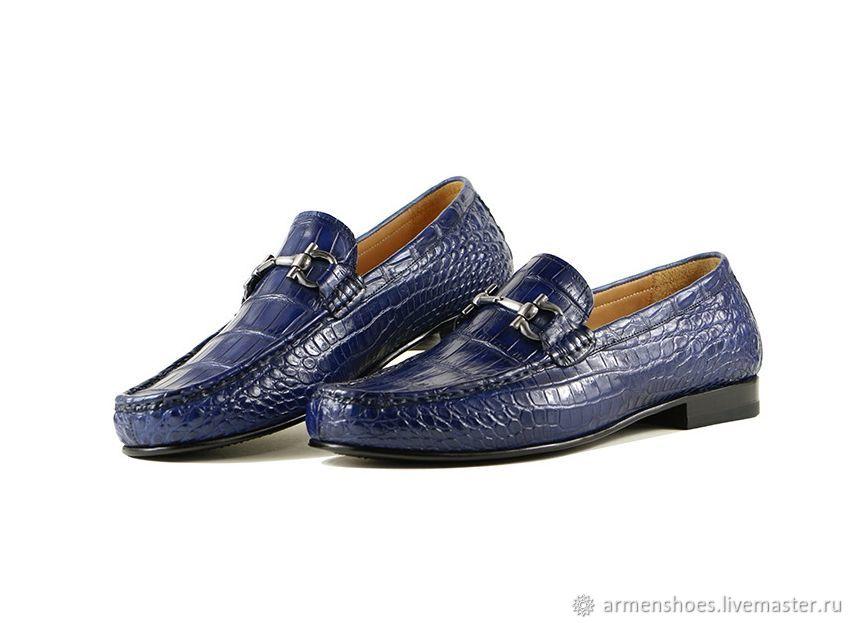 Мужские туфли - лоферы, из кожи крокодила, цвет тёмно - синий, Лоферы, Тосно, Фото №1