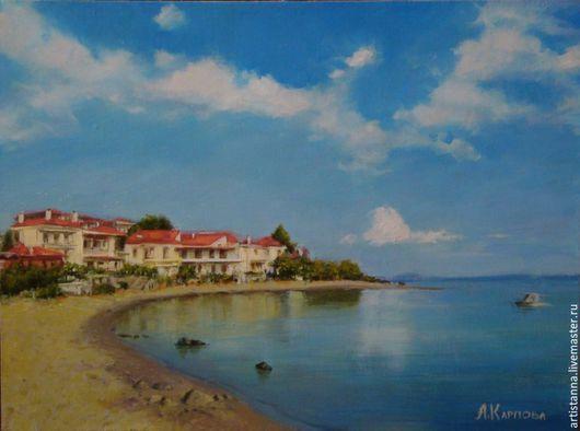 """Пейзаж ручной работы. Ярмарка Мастеров - ручная работа. Купить """"Греция"""". Handmade. Голубой, море, греция, пляж, отдых, пейзаж"""