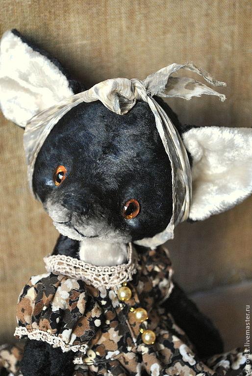 Мишки Тедди ручной работы. Ярмарка Мастеров - ручная работа. Купить Одри. Handmade. Черный, лисица, винтажный плюш