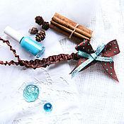 Украшения ручной работы. Ярмарка Мастеров - ручная работа повязка Шоколад и бирюза. Handmade.
