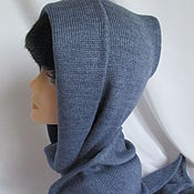 Аксессуары handmade. Livemaster - original item Cropped, hood with scarf mittens wool ALIZE GOLD blue. Handmade.