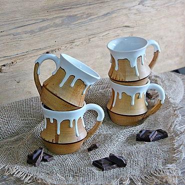 """Посуда ручной работы. Ярмарка Мастеров - ручная работа Керамические кружки """"Белый шоколад"""". Большие кружки для чая.. Handmade."""