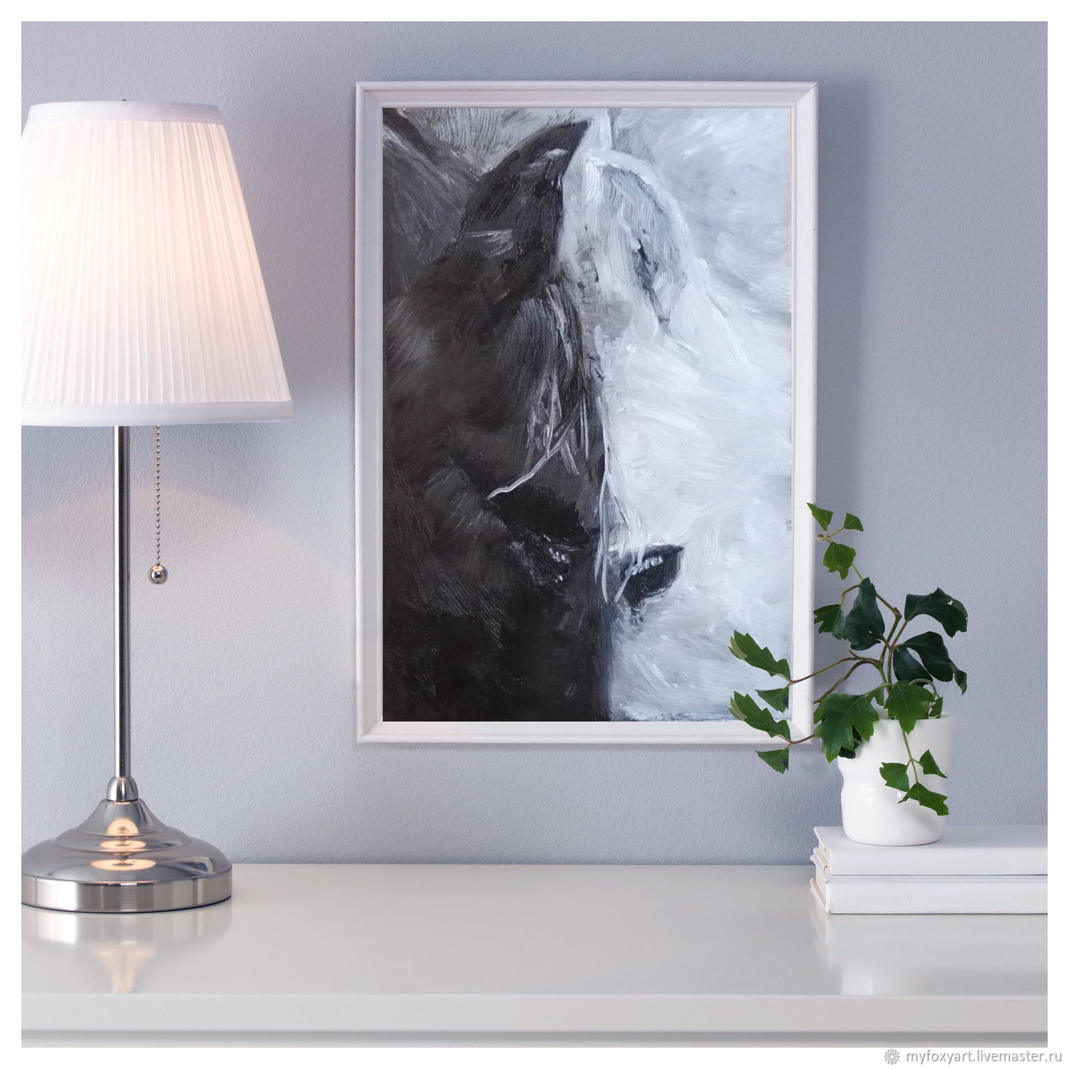 Horses, oil Painting, 20h30cm, Lovers, Two, Pictures, St. Petersburg,  Фото №1