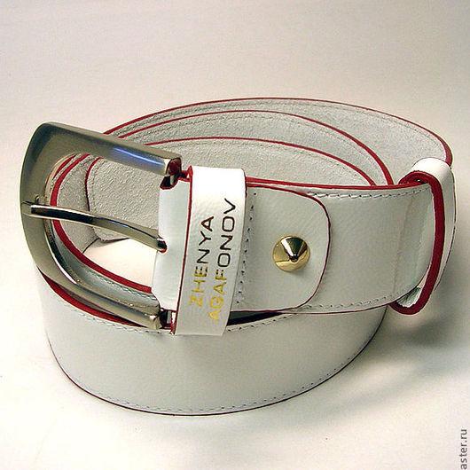 """Пояса, ремни ручной работы. Ярмарка Мастеров - ручная работа. Купить Белый кожаный ремень """"Portada"""". Handmade. Белый"""