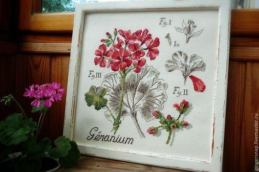 """Картины цветов ручной работы. Ярмарка Мастеров - ручная работа. Купить """"Geranium"""". Handmade. Ярко-красный, зеленый, винтаж, пеларгония"""
