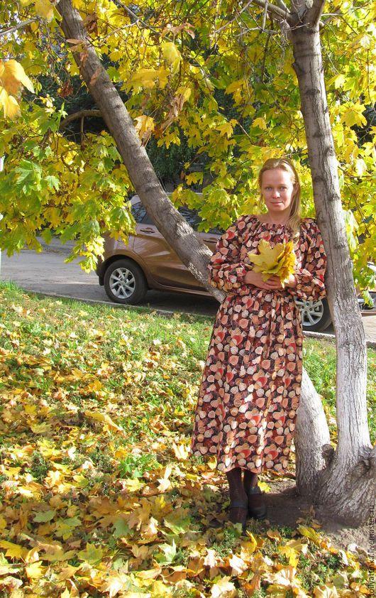 """Платья ручной работы. Ярмарка Мастеров - ручная работа. Купить Длинное теплое платье """"Осеннее"""". Handmade. Комбинированный, хлопок"""