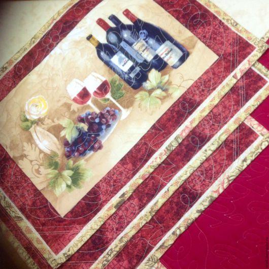 """Кухня ручной работы. Ярмарка Мастеров - ручная работа. Купить Ланчматы """"Праздничный стол"""". Handmade. Вино, ланчматы, текстиль для интерьера"""