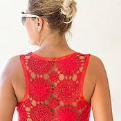 Одежда ручной работы. Ярмарка Мастеров - ручная работа Красная майка с ажурной спиной Размеры М и S. Handmade.