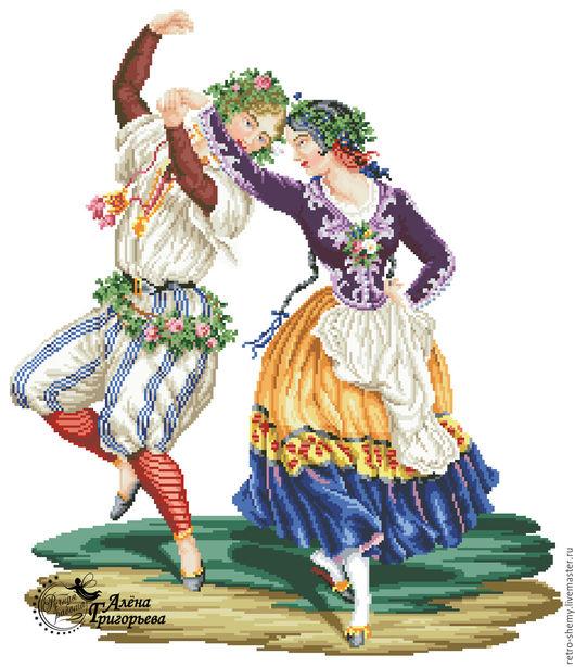 """Вышивка ручной работы. Ярмарка Мастеров - ручная работа. Купить Схема вышивки """"Танец"""". Handmade. Схема для вышивки, ретро"""