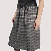 Одежда handmade. Livemaster - original item Grey plaid skirt office classic with lurex. Handmade.
