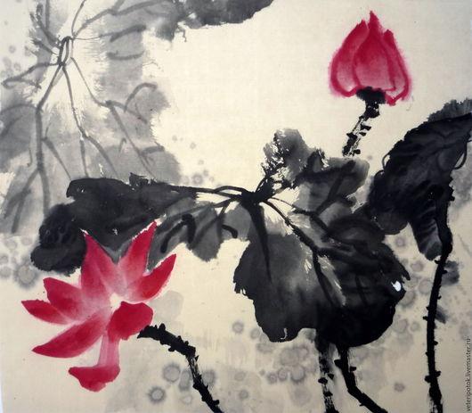 Картины цветов ручной работы. Ярмарка Мастеров - ручная работа. Купить картина на рисовой бумаге Красные лотосы. Handmade.