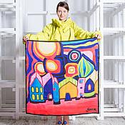 Аксессуары ручной работы. Ярмарка Мастеров - ручная работа Шелковый платок с авторским принтом - розовый город. Handmade.