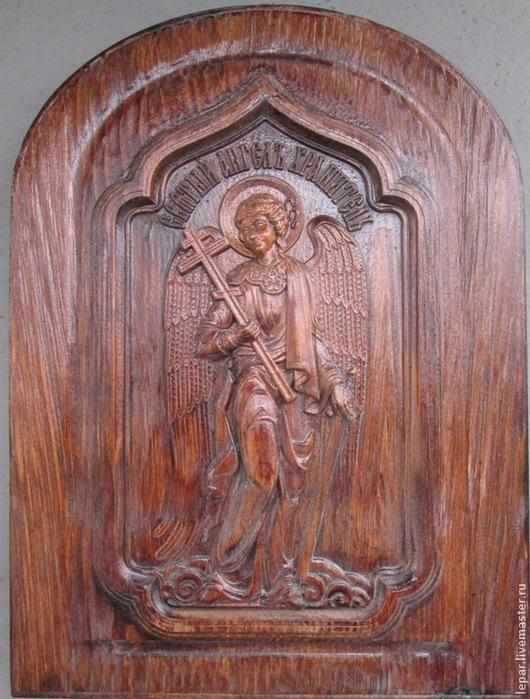 Иконы ручной работы. Ярмарка Мастеров - ручная работа. Купить икона Ангел Хранитель, в темном. Handmade. Коричневый, ангел-хранитель