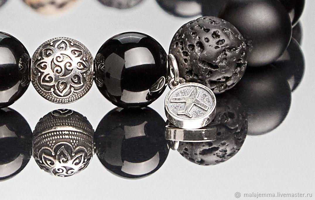 Bracelet men's 12mm beads MIX with walnut bead 13mm, Bead bracelet, Magnitogorsk,  Фото №1