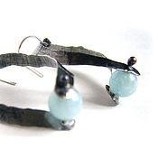 """Украшения ручной работы. Ярмарка Мастеров - ручная работа """"Silver ribbon"""" серьги из серебра с аквамаринами. Handmade."""