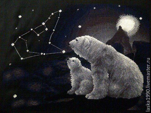 Животные ручной работы. Ярмарка Мастеров - ручная работа. Купить Полярная ночь. Handmade. Черный, картина в подарок, картина для интерьера