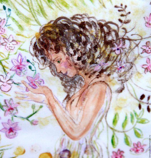 """Ванная комната ручной работы. Ярмарка Мастеров - ручная работа. Купить Мешочек для хранения. Акварель на ткани """"Девушка и Орхидея"""". Handmade."""
