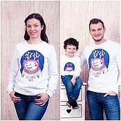 Одежда handmade. Livemaster - original item Sweatshirt Unisex sweatshirt with print Bear-Deer. Handmade.