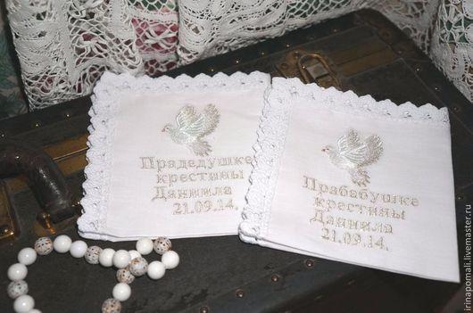 """Крестильные принадлежности ручной работы. Ярмарка Мастеров - ручная работа. Купить Платочки для крестных """"ГОЛУБЬ"""". Handmade. Белый, крестильное, кружево"""