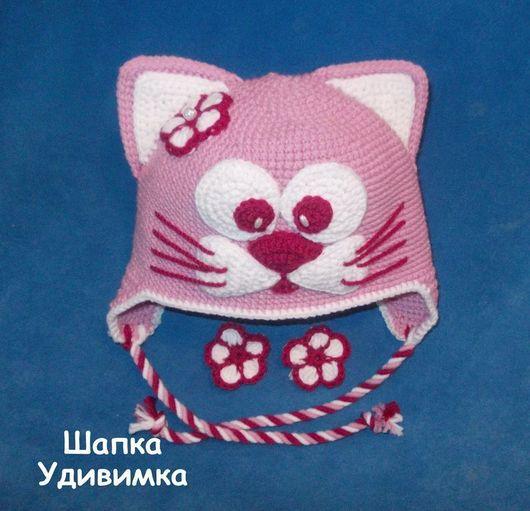 Шапки и шарфы ручной работы. Ярмарка Мастеров - ручная работа. Купить Шапка кошка с цветочком. Handmade. Розовый, зимняя шапочка
