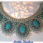 Украшения handmade. Livemaster - original item Necklace with turquoise embroidered beaded Turquoise charm 1. Handmade.