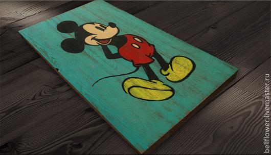 Рекламные вывески ручной работы. Ярмарка Мастеров - ручная работа. Купить Интерьерная вывеска Микки Маус Ретро. Handmade. ретро