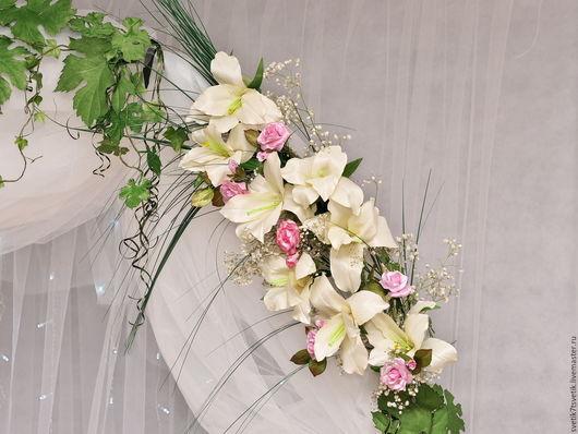 """Свадебные цветы ручной работы. Ярмарка Мастеров - ручная работа. Купить Свадебная композиция для арки или стола """"Лилии"""". Handmade."""